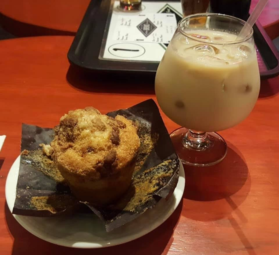 muffin and cold coffee